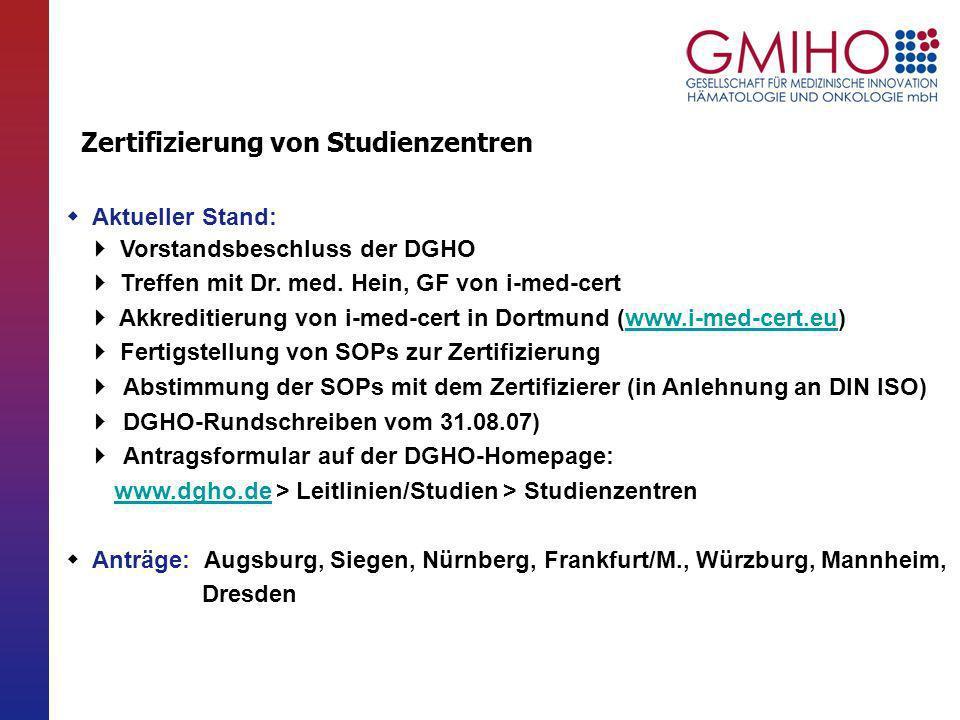 Zertifizierung von Studienzentren