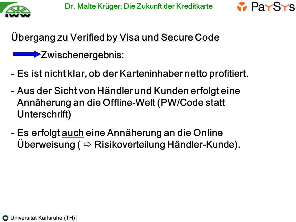 Übergang zu Verified by Visa und Secure Code Zwischenergebnis: