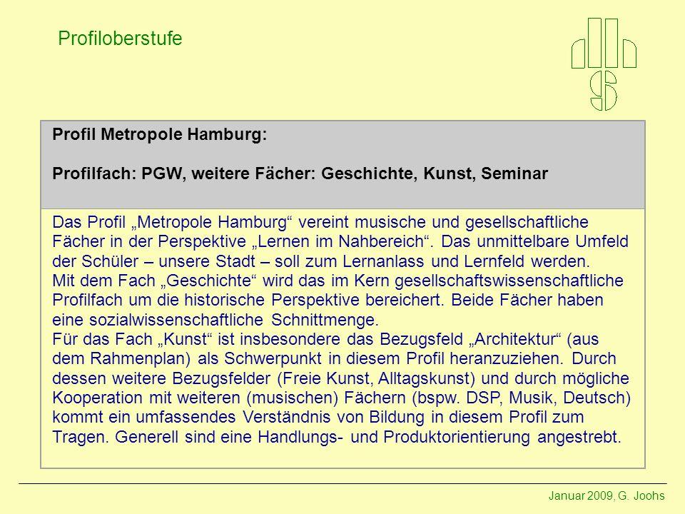 Profil Metropole Hamburg: Profilfach: PGW, weitere Fächer: Geschichte, Kunst, Seminar