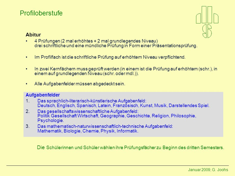 Abitur4 Prüfungen (2 mal erhöhtes + 2 mal grundlegendes Niveau) drei schriftliche und eine mündliche Prüfung in Form einer Präsentationsprüfung.