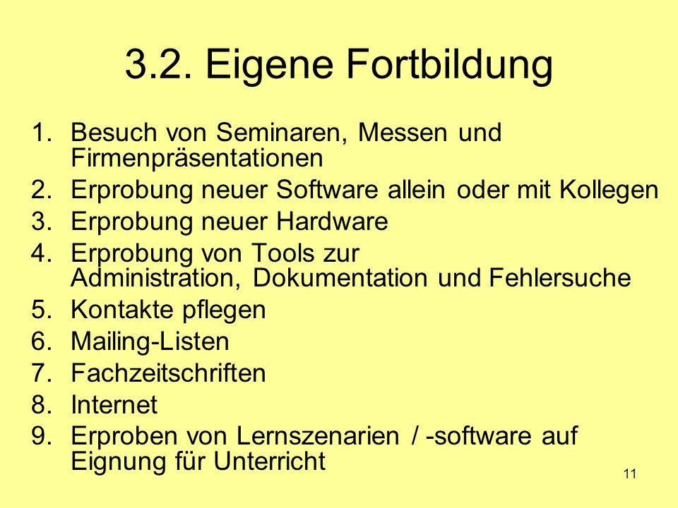 3.2. Eigene Fortbildung Besuch von Seminaren, Messen und Firmenpräsentationen. Erprobung neuer Software allein oder mit Kollegen.