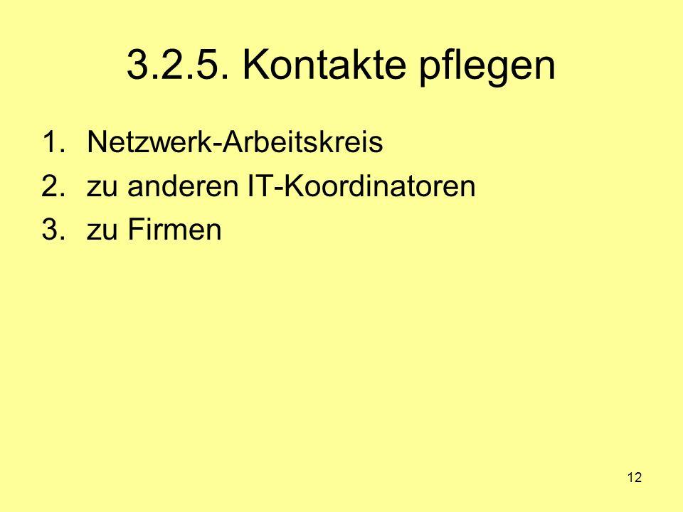 3.2.5. Kontakte pflegen Netzwerk-Arbeitskreis