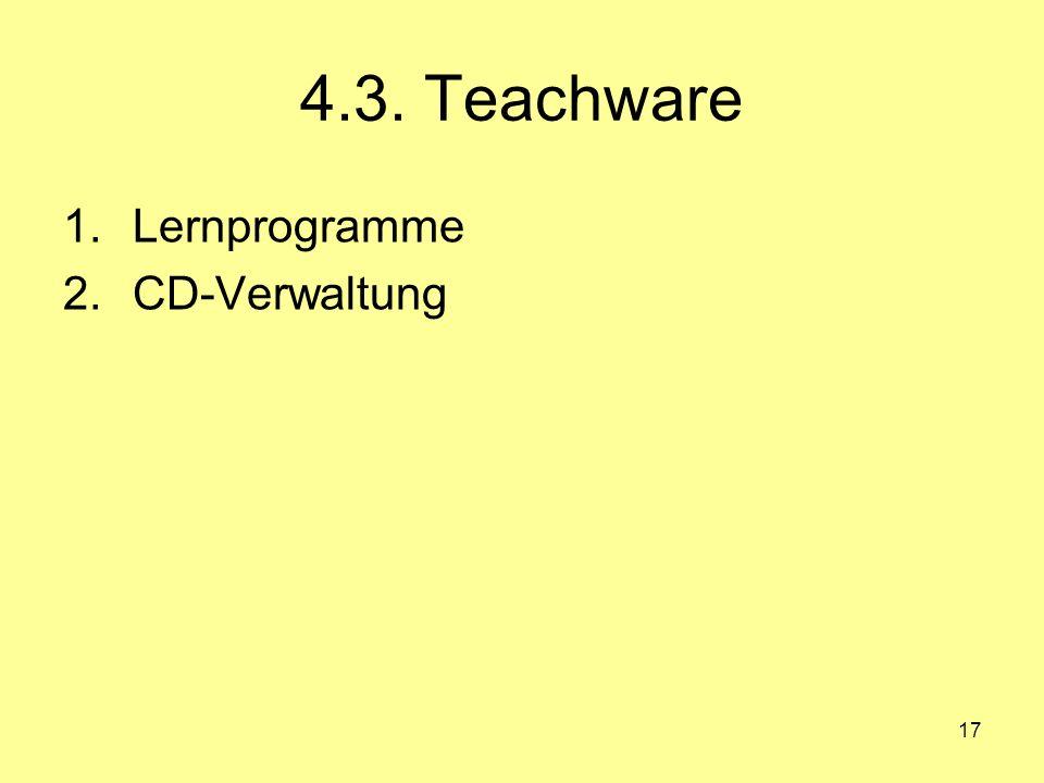 4.3. Teachware Lernprogramme CD-Verwaltung