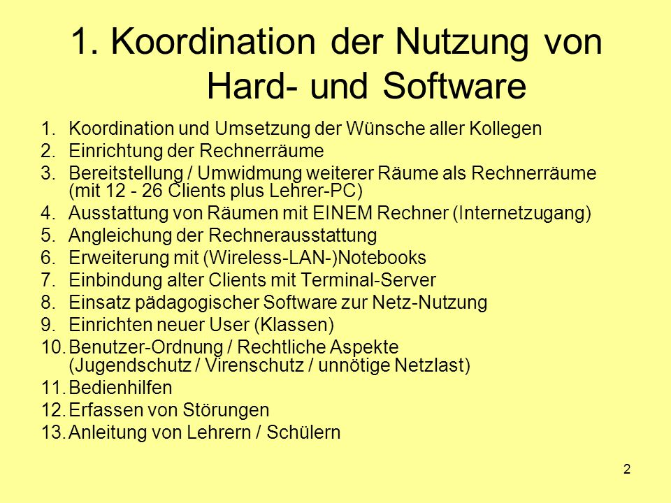 1. Koordination der Nutzung von Hard- und Software