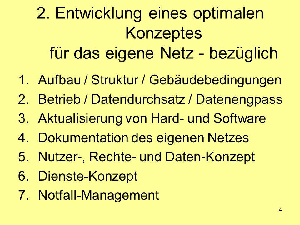 2. Entwicklung eines optimalen Konzeptes für das eigene Netz - bezüglich
