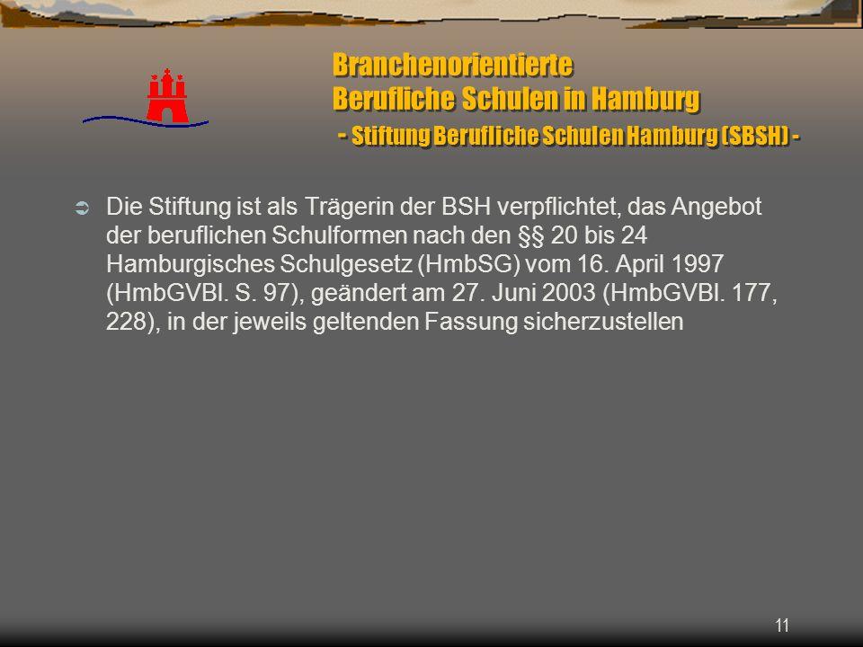 Branchenorientierte Berufliche Schulen in Hamburg - Stiftung Berufliche Schulen Hamburg (SBSH) -