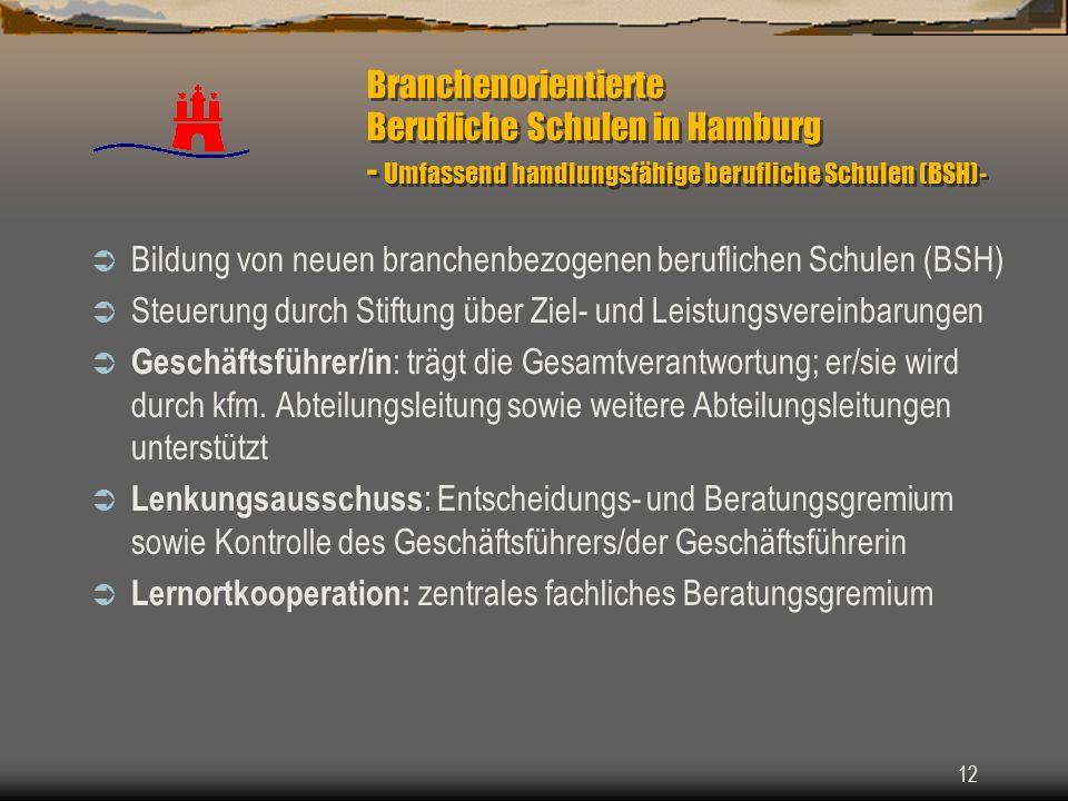 Branchenorientierte Berufliche Schulen in Hamburg - Umfassend handlungsfähige berufliche Schulen (BSH)-