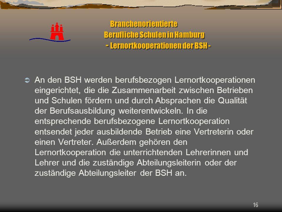 Branchenorientierte Berufliche Schulen in Hamburg - Lernortkooperationen der BSH -