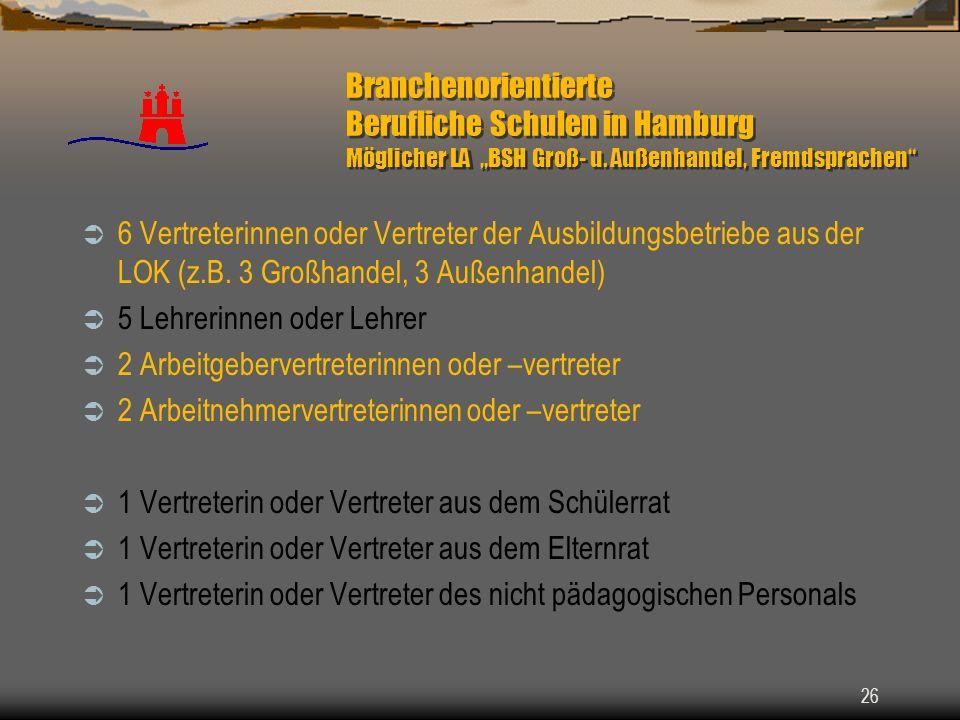 """Branchenorientierte Berufliche Schulen in Hamburg Möglicher LA """"BSH Groß- u. Außenhandel, Fremdsprachen"""