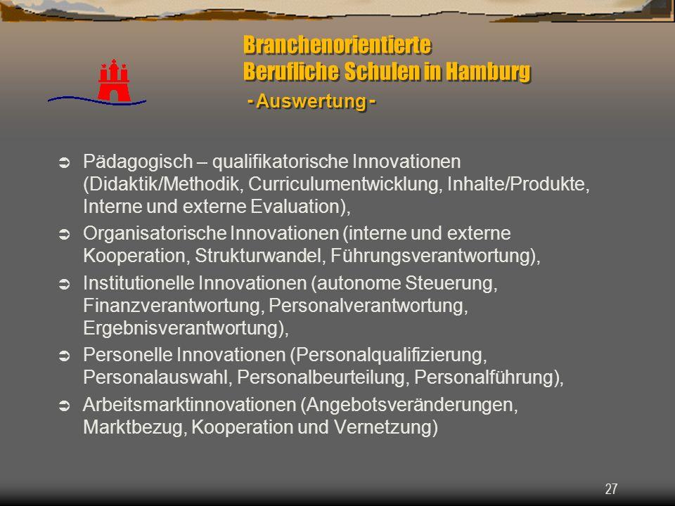 Branchenorientierte Berufliche Schulen in Hamburg - Auswertung -