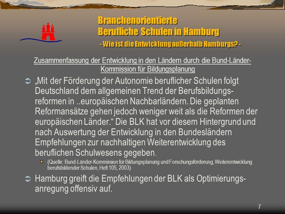 Branchenorientierte Berufliche Schulen in Hamburg - Wie ist die Entwicklung außerhalb Hamburgs -