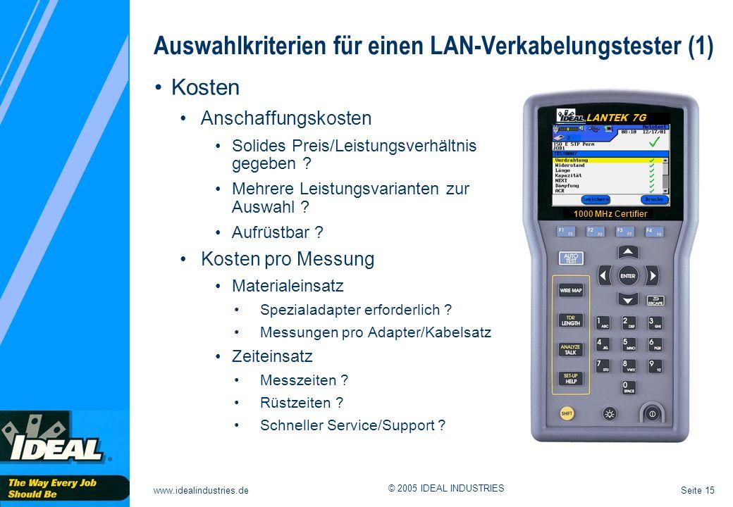 Auswahlkriterien für einen LAN-Verkabelungstester (1)
