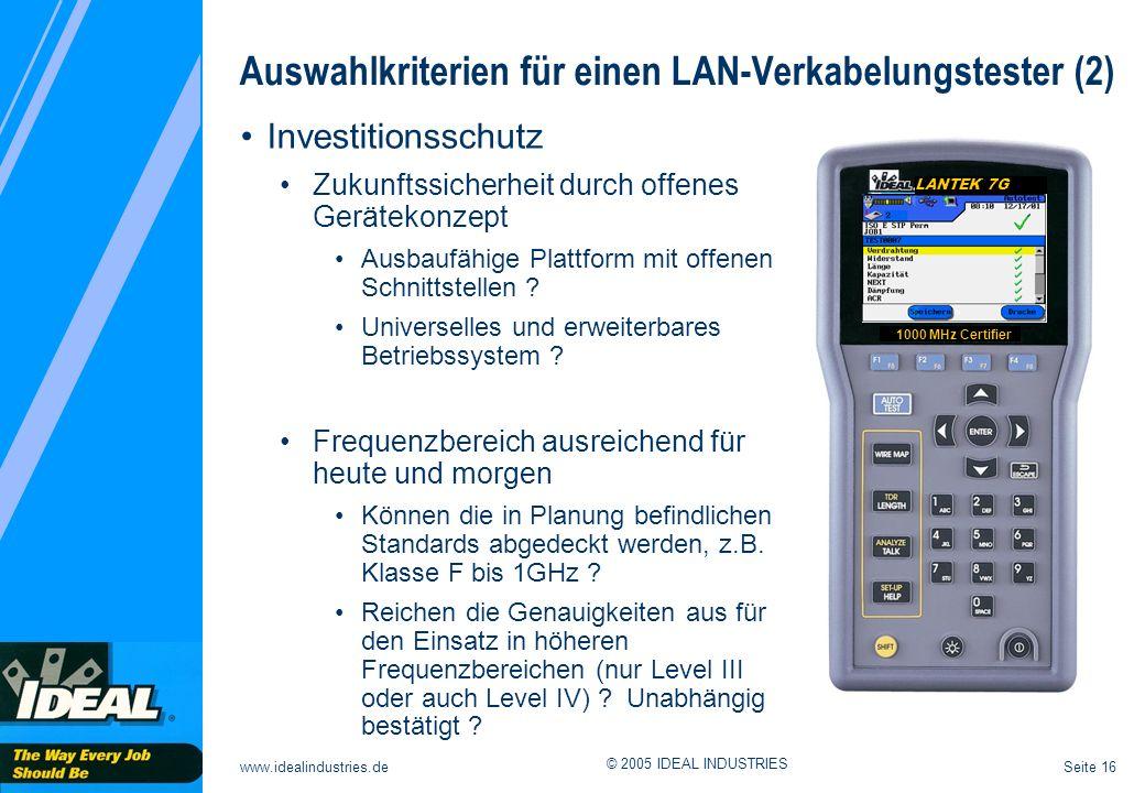 Auswahlkriterien für einen LAN-Verkabelungstester (2)