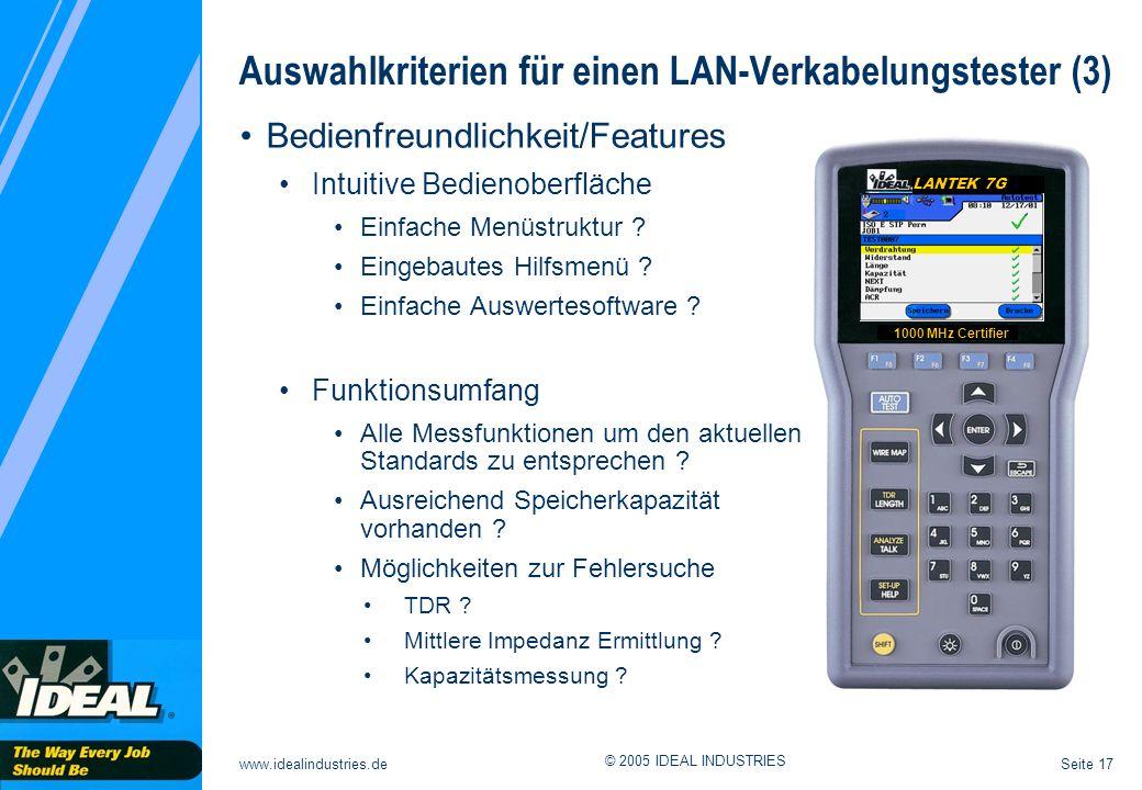 Auswahlkriterien für einen LAN-Verkabelungstester (3)