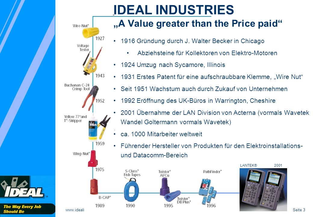 "IDEAL INDUSTRIES ""A Value greater than the Price paid"