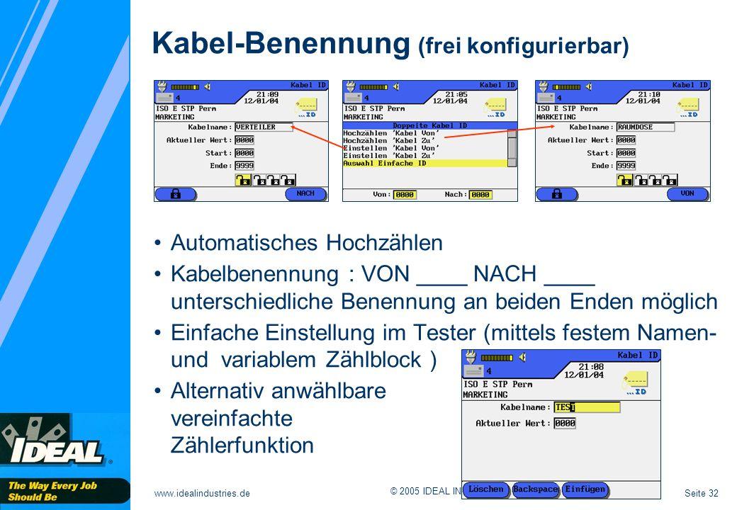 Kabel-Benennung (frei konfigurierbar)
