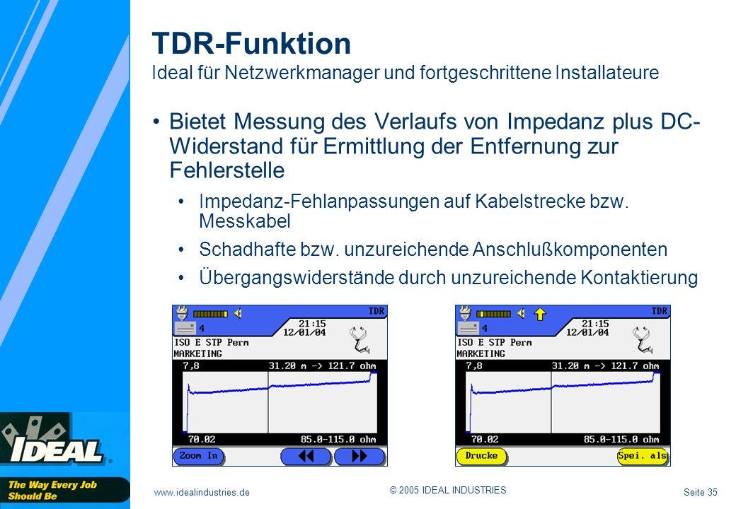 TDR-Funktion Ideal für Netzwerkmanager und fortgeschrittene Installateure