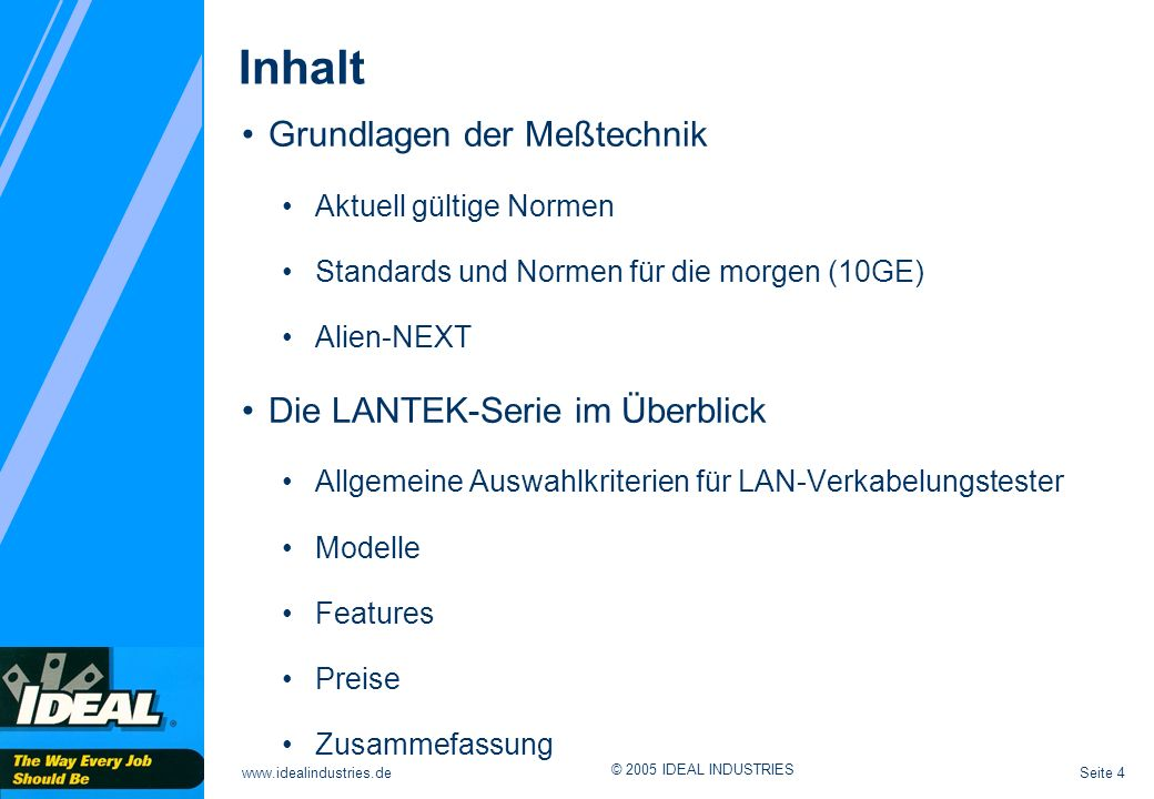 Inhalt Grundlagen der Meßtechnik Die LANTEK-Serie im Überblick