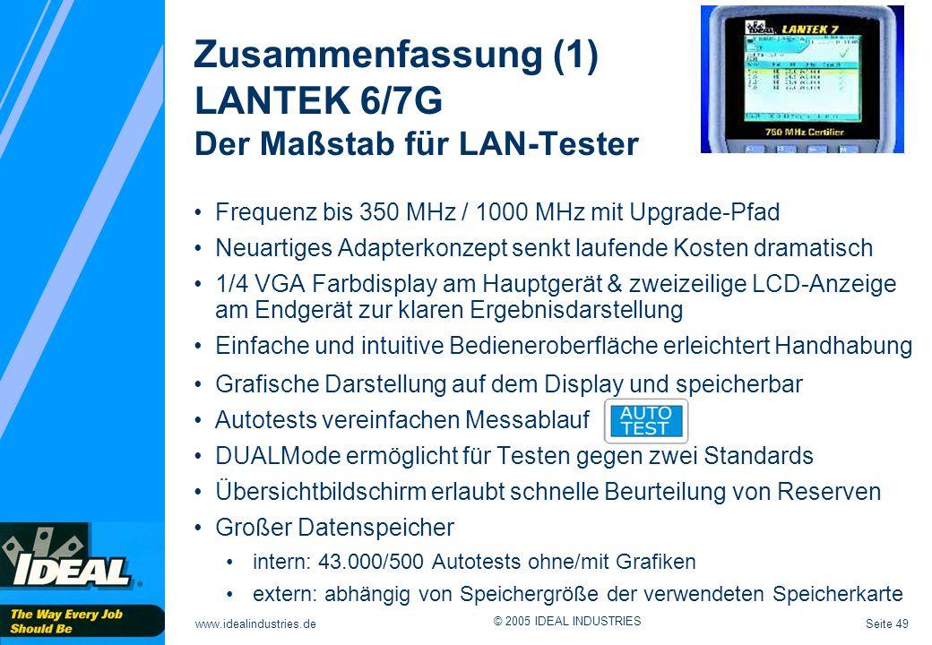 Zusammenfassung (1) LANTEK 6/7G Der Maßstab für LAN-Tester