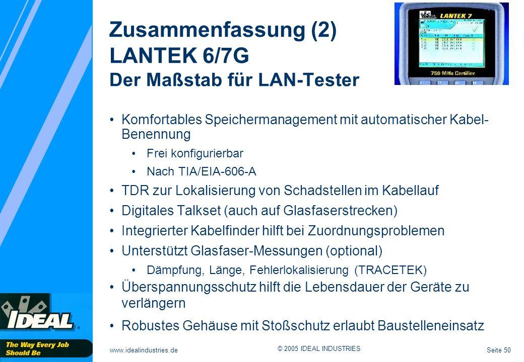 Zusammenfassung (2) LANTEK 6/7G Der Maßstab für LAN-Tester