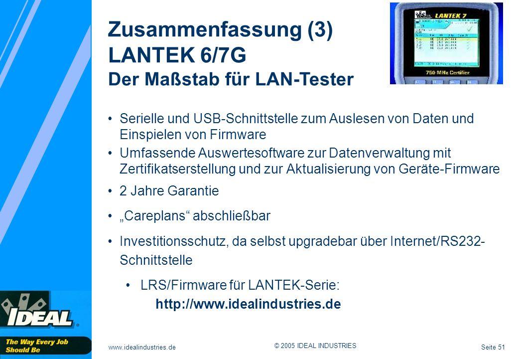 Zusammenfassung (3) LANTEK 6/7G Der Maßstab für LAN-Tester