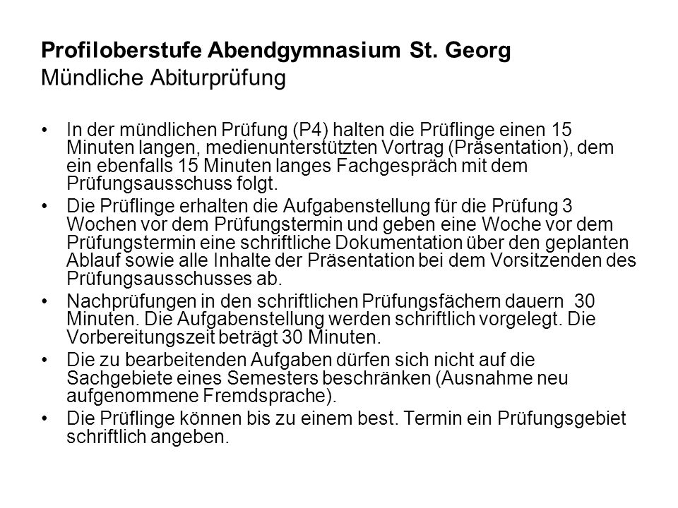Profiloberstufe Abendgymnasium St. Georg Mündliche Abiturprüfung