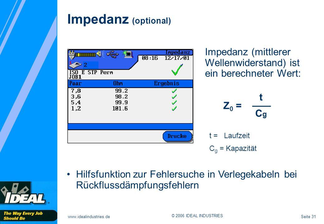 Impedanz (optional) Impedanz (mittlerer Wellenwiderstand) ist ein berechneter Wert: t. Z0 = Cg. t = Laufzeit.