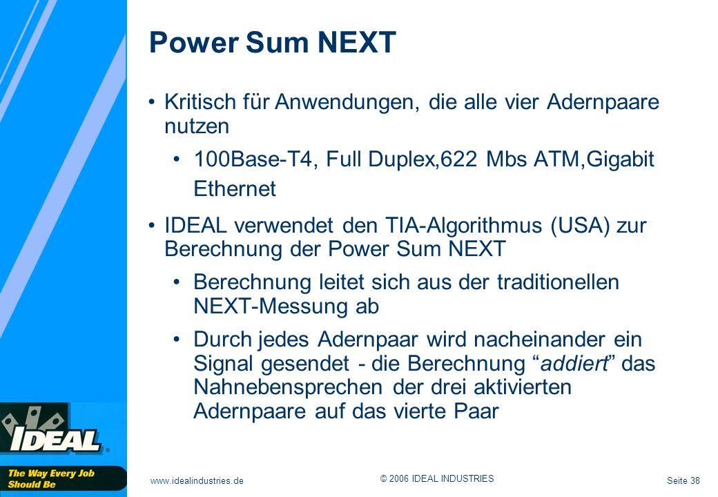 Power Sum NEXT Kritisch für Anwendungen, die alle vier Adernpaare nutzen. 100Base-T4, Full Duplex,622 Mbs ATM,Gigabit Ethernet.