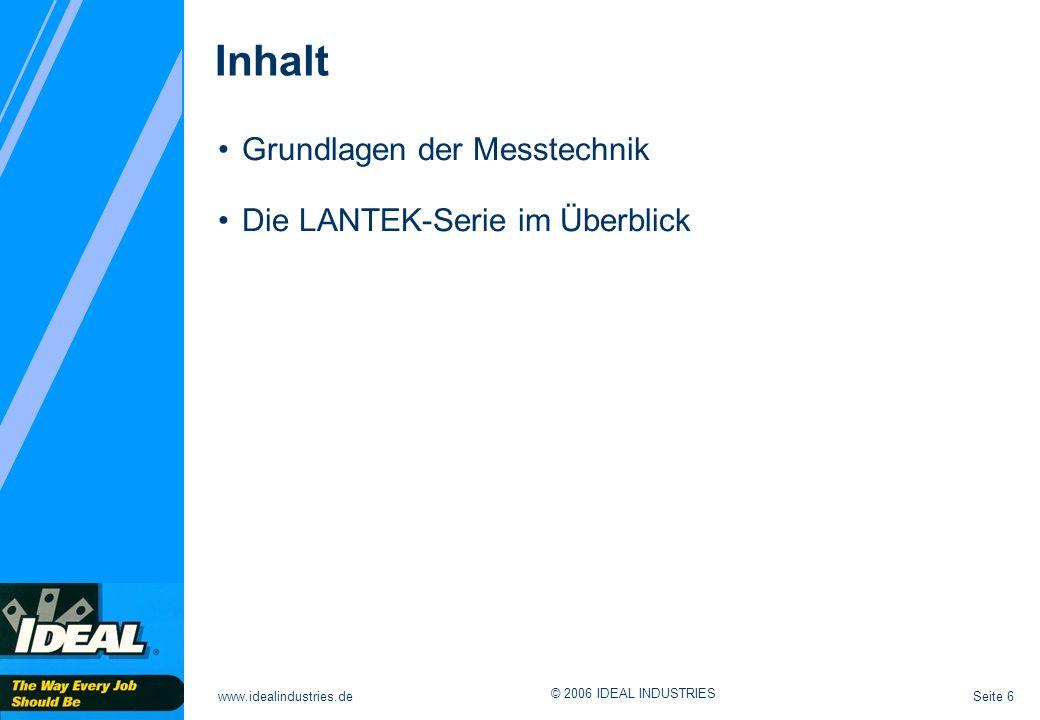 Inhalt Grundlagen der Messtechnik Die LANTEK-Serie im Überblick