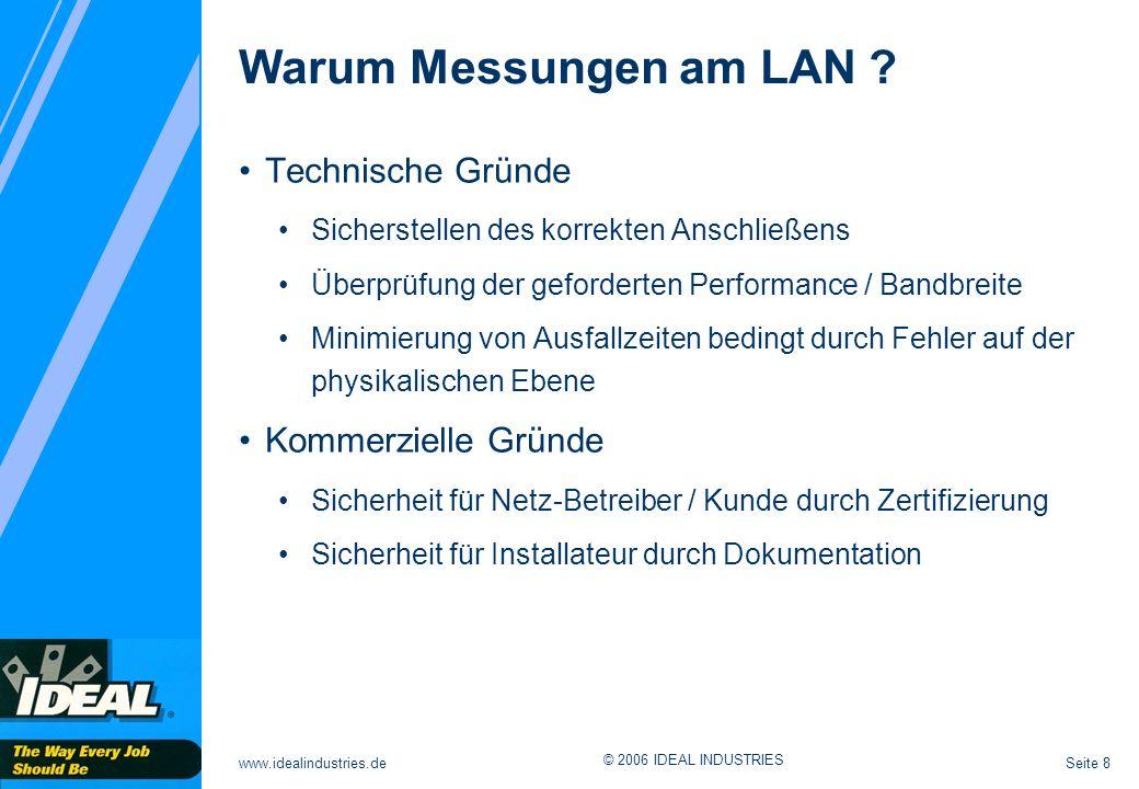 Warum Messungen am LAN Technische Gründe Kommerzielle Gründe