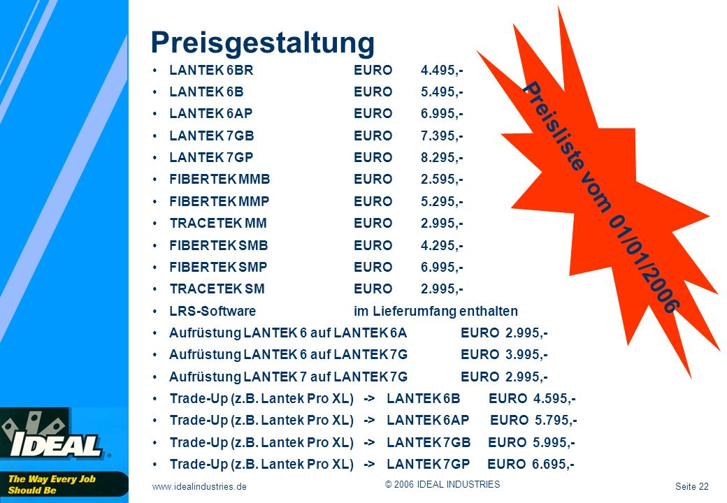 Preisgestaltung Preisliste vom 01/01/2006 LANTEK 6BR EURO 4.495,-