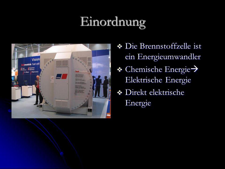 Einordnung Die Brennstoffzelle ist ein Energieumwandler