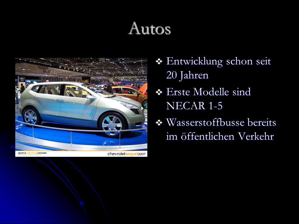 Autos Entwicklung schon seit 20 Jahren Erste Modelle sind NECAR 1-5
