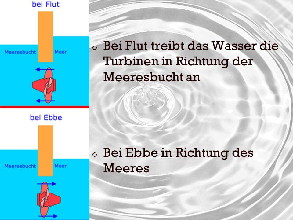 Bei Flut treibt das Wasser die Turbinen in Richtung der Meeresbucht an