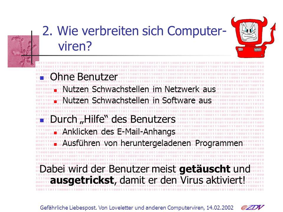 2. Wie verbreiten sich Computer- viren