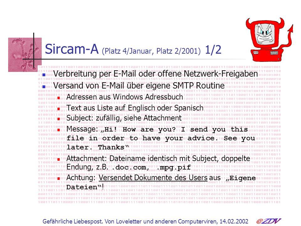 Sircam-A (Platz 4/Januar, Platz 2/2001) 1/2