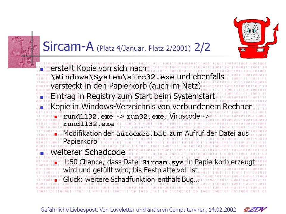 Sircam-A (Platz 4/Januar, Platz 2/2001) 2/2