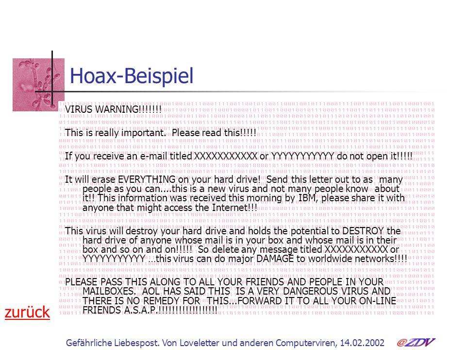 Hoax-Beispiel zurück VIRUS WARNING!!!!!!!