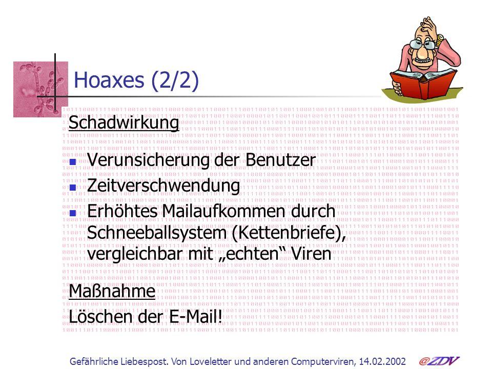 Hoaxes (2/2) Schadwirkung Verunsicherung der Benutzer