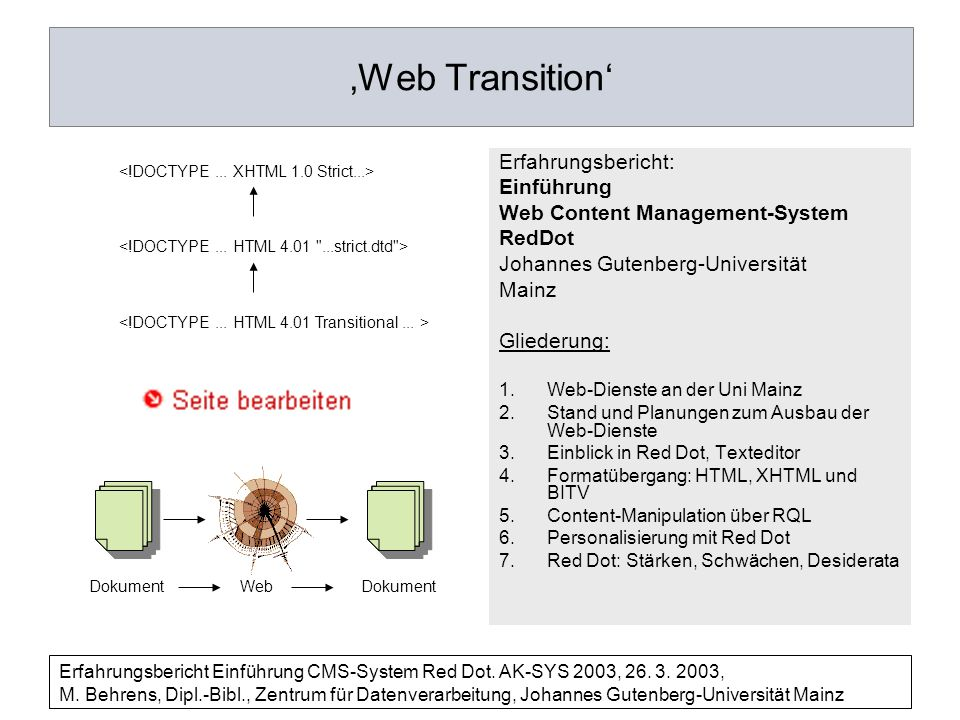'Web Transition' Erfahrungsbericht: Einführung