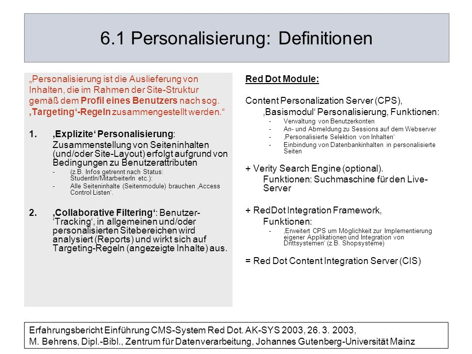 6.1 Personalisierung: Definitionen