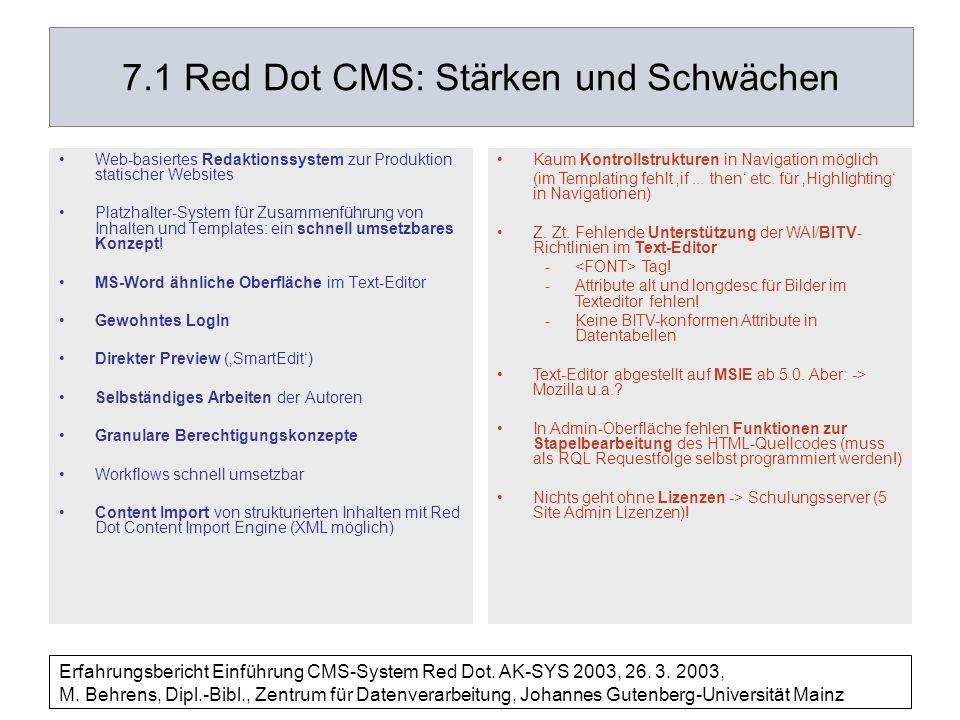 7.1 Red Dot CMS: Stärken und Schwächen