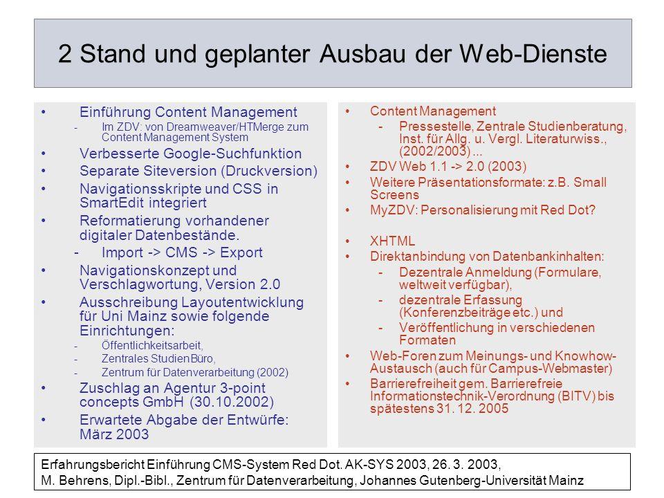 2 Stand und geplanter Ausbau der Web-Dienste