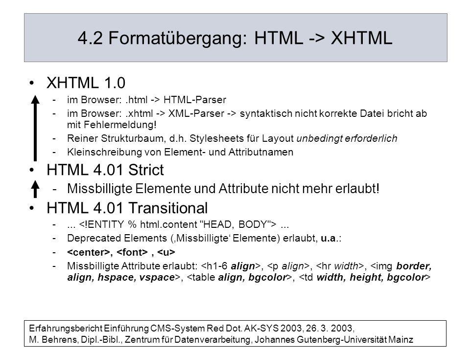 4.2 Formatübergang: HTML -> XHTML