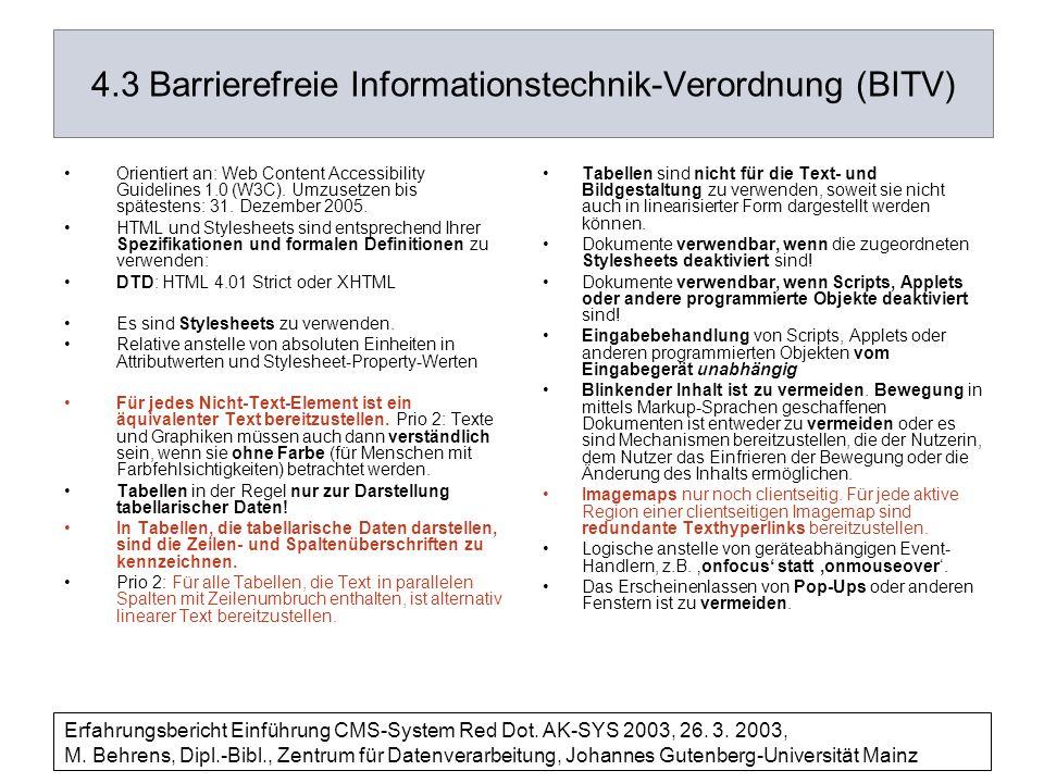 4.3 Barrierefreie Informationstechnik-Verordnung (BITV)