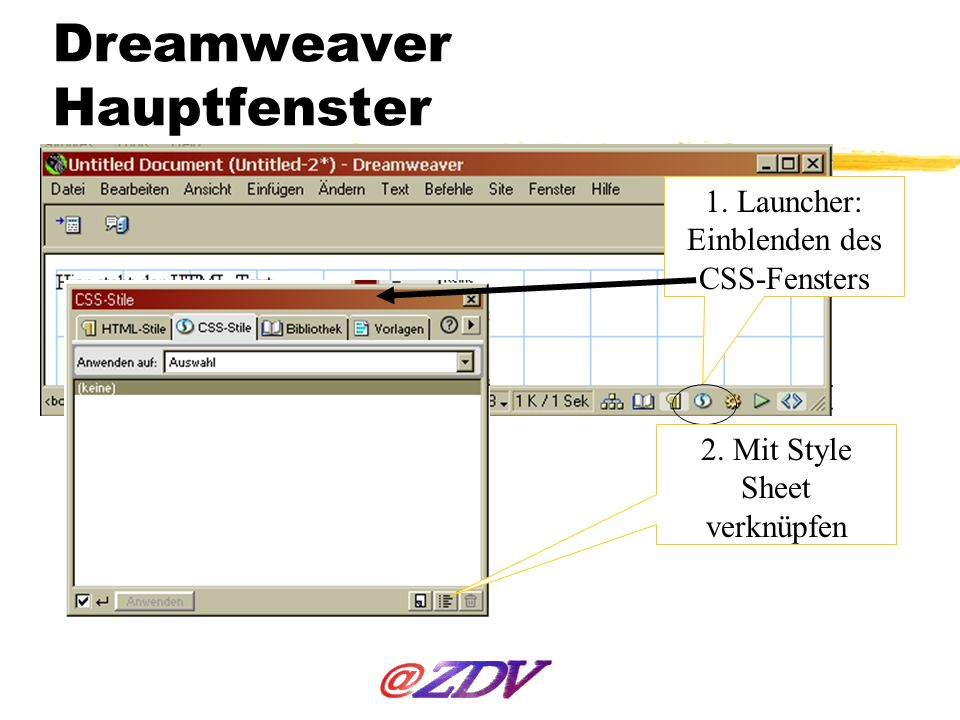 Dreamweaver Hauptfenster