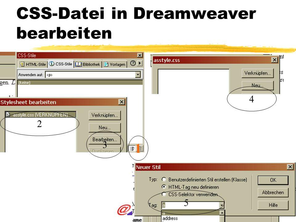 CSS-Datei in Dreamweaver bearbeiten