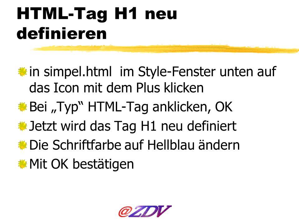 HTML-Tag H1 neu definieren