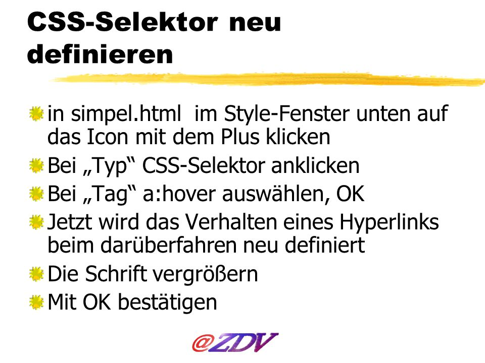 CSS-Selektor neu definieren
