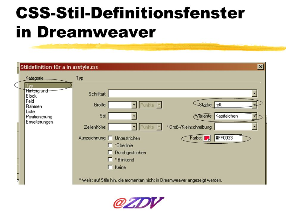 CSS-Stil-Definitionsfenster in Dreamweaver